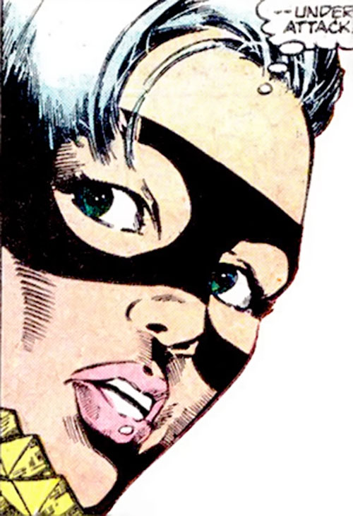 Black Cat (Spider-Man character) (Marvel Comics) face closeup with variant mask