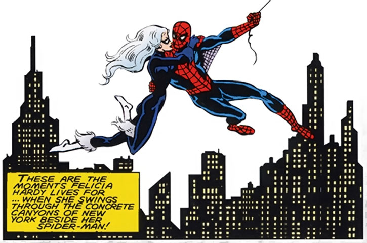 Black Cat (Felicia Hardy) and Spider-Man over the Manhattan skyline