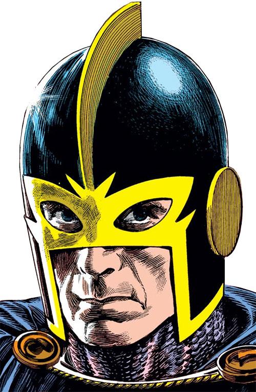 Black Knight of the Avengers (Dane Whitman) (Marvel Comics) face and helmet closeup