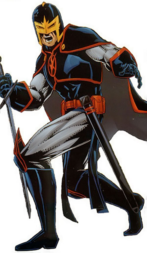 Black Knight of the Avengers (Dane Whitman) (Marvel Comics) with his sword in a reverse grip