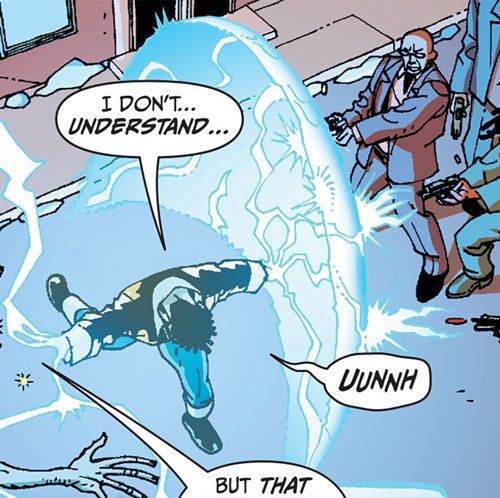 Black Lightning Year One (DC Comics) blocking gunfire with a force shield