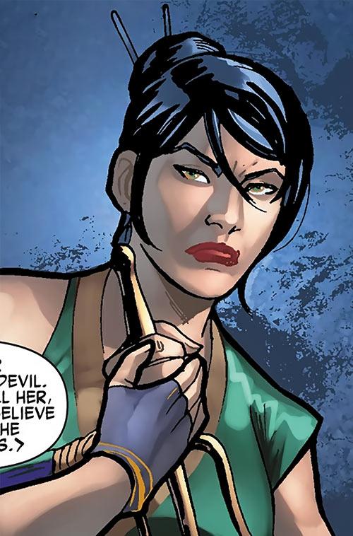 Black Lotus (Marvel Comics) with a sai
