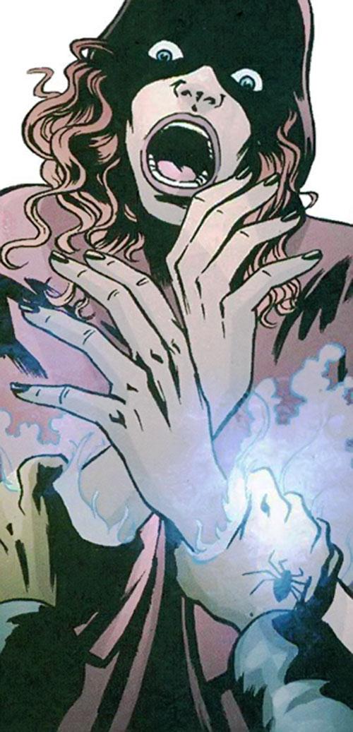 Black Mariah's hands burning the Fallen Angel