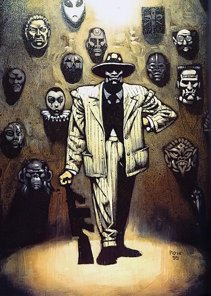 Black Mask posing in front of masks
