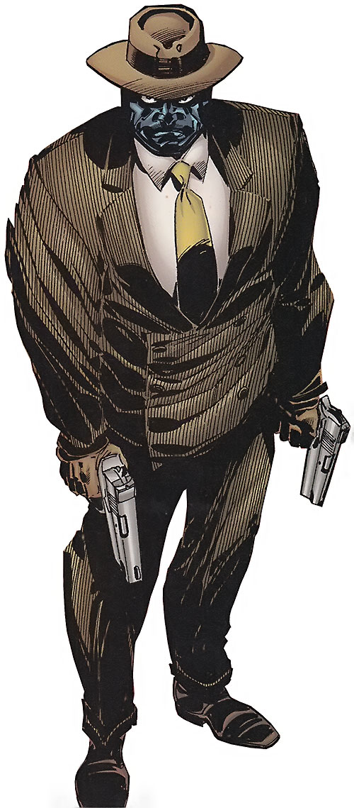 Black Mask (DC Comics) with a pinstripe suit and paired pistols