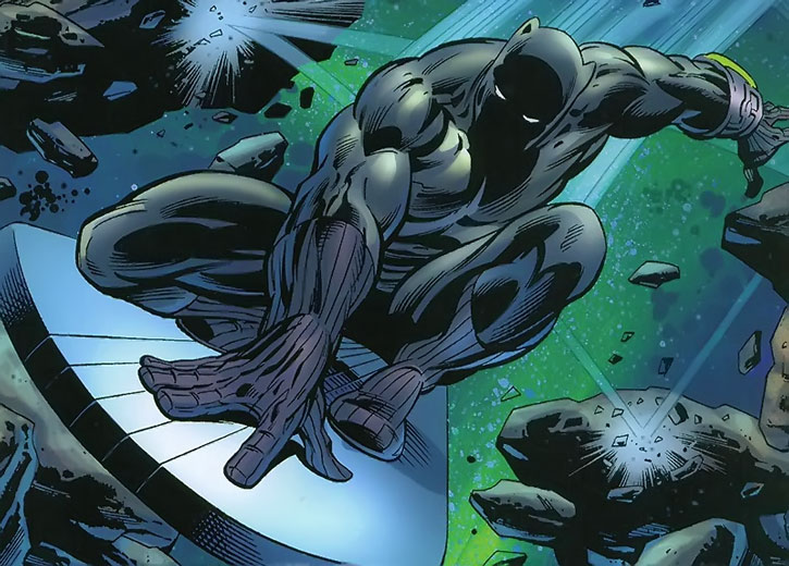 Black Panther using the Silver Surfer's board