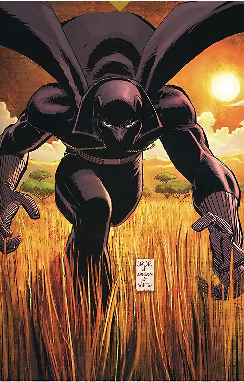 Black Panther (T'Challa by Hudlin) (Marvel Comics) running in the savannah by Romita Jr.