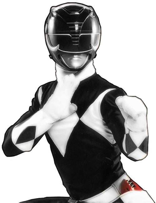 Black Ranger Zack Taylor (Walter Jones in Mighty Morphin Power Rangers) combat pose