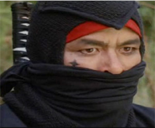 Black Star Ninja (Tadashi Yamashita in American Ninja) face closeup