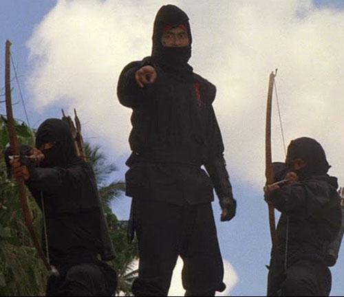 Black Star Ninja (Tadashi Yamashita in American Ninja) with ninja bowmen