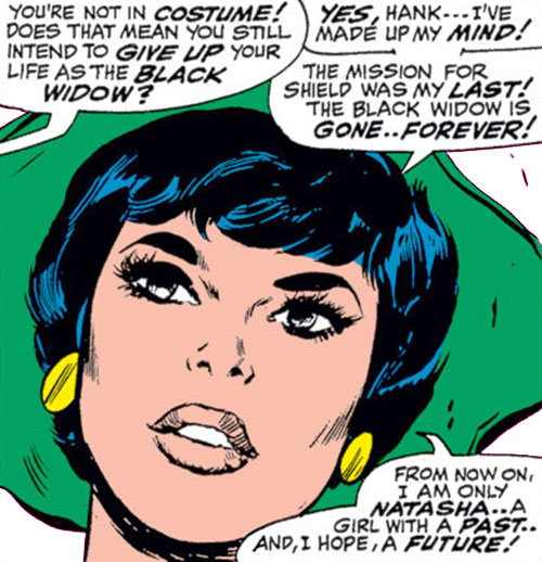 Black Widow (Romanoff) during the 1960s (Marvel Comics) with a green hat