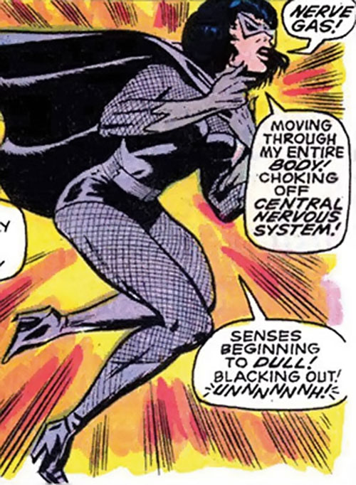 Black Widow (Romanoff) during the 1960s (Marvel Comics) felled by nerve gas