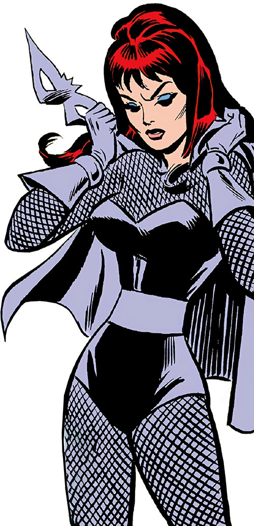 Black Widow (Romanoff) during the 1960s (Marvel Comics) putting on the gray costume