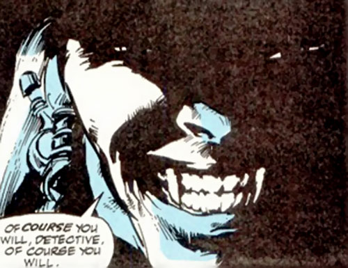 Blackout (Ghost Rider enemy) grinning in the dark