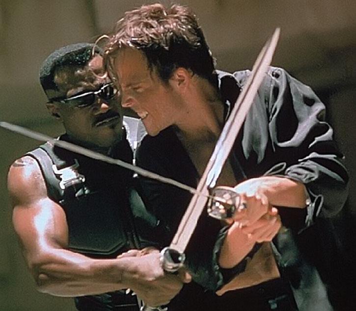 Blade (Wesley Snipes) fights Deacon Frost (Stephen Dorff)