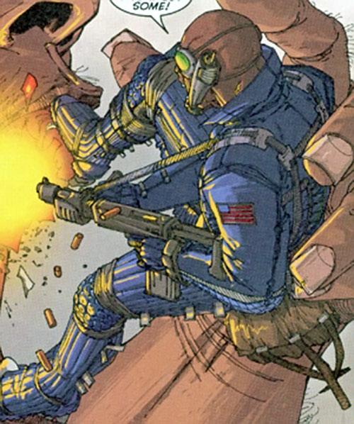 Blake Coleman of Stormwatch Team Achilles (Wildstorm comics) fighting a giant