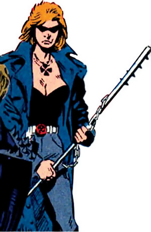 Blind Faith of the Cadre / Aryan Brigade (DC Comics) with her spiked staff