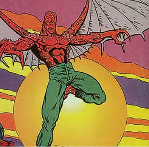 Bloodhawk of the X-Men 2099 (Marvel Comics) flying in the sun
