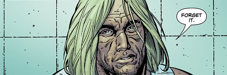 "Bloodhound comics - Travis ""Clev"" Clevenger face closeup long hair prison wall"