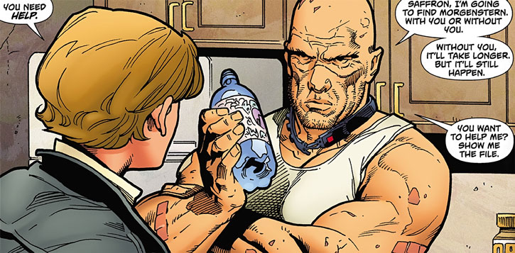 "Bloodhound comics - Travis ""Clev"" Clevenger discussing with Saffron in a kitchen"