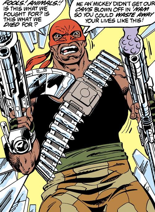 Bloodsport (Dubois) (Superman enemy) (DC Comics) dual-wielding Lexcorp weapons