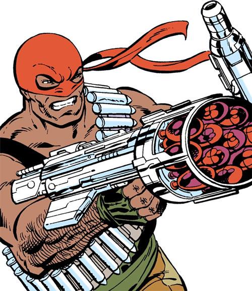 Bloodsport (Dubois) (Superman enemy) (DC Comics) aiming a hi-tech rocket launcher