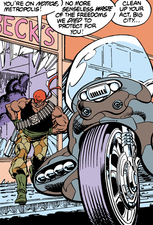Bloodsport (Dubois) (Superman enemy) (DC Comics) running to his bike