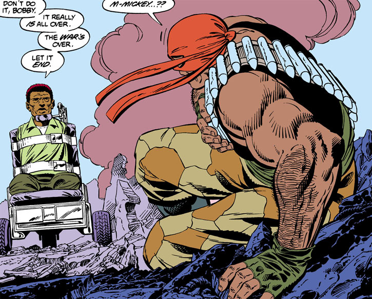 Bloodsport (Dubois) (Superman enemy) (DC Comics) faces his crippled brother