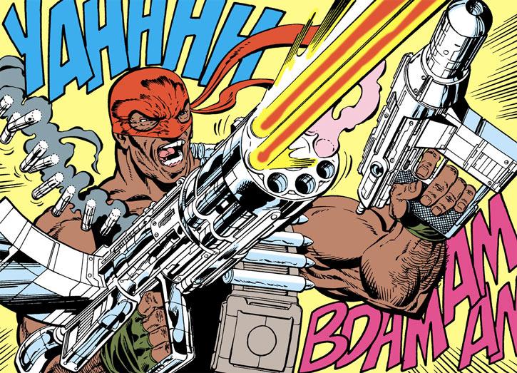 Bloodsport (Robert Dubois) opens fire