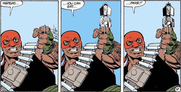 Bloodsport (Robert DuBois) teleports a gun to his hand