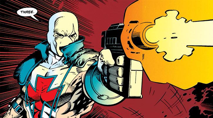 Bloodsport (Alex Trent) shoots a pistol