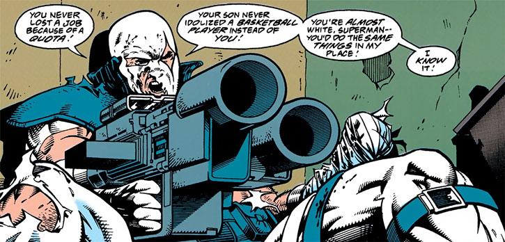 Bloodsport (Alex Trent) aims a missile launcher at Superman