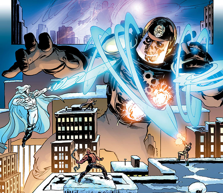 A spectral Blue Knight above Astro City