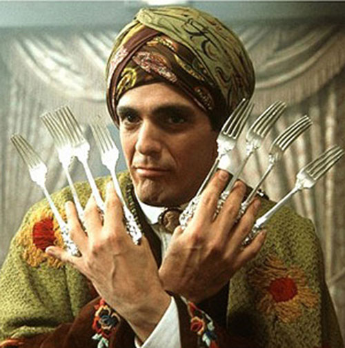 Blue Raja (Hank Azaria in Mystery Men) with his fearsome weapons