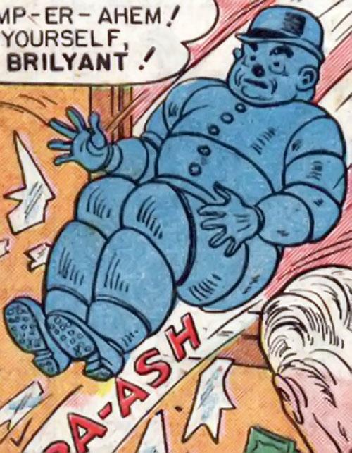 Blue Snowman (Wonder Woman enemy) (DC Comics) robot crashes through a window