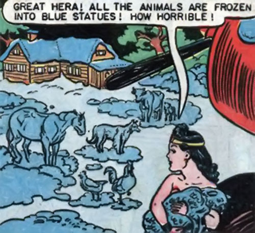 Wonder Woman discovers animals frozen solid by the Blue Snowman
