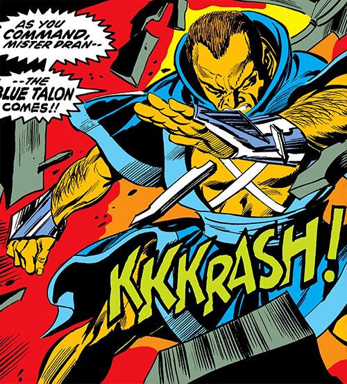Blue Talon (Daredevil enemy) (Marvel Comics) smashes through a door