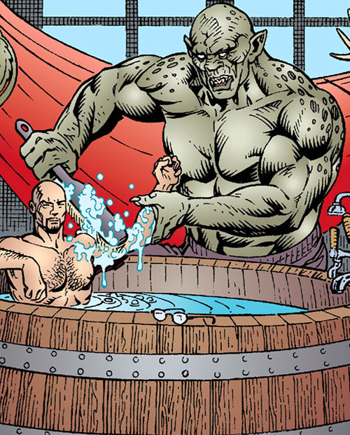 Bluebeard of the Fables (DC Comics) bathed by his servant Hobbes