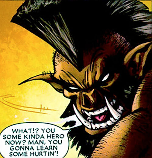 The Boar (Bet Ray Bill enemy) (Marvel Comics) face closeup