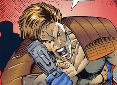 Boone of Brigade (Image Comics) aiming his pistol - high angle shot