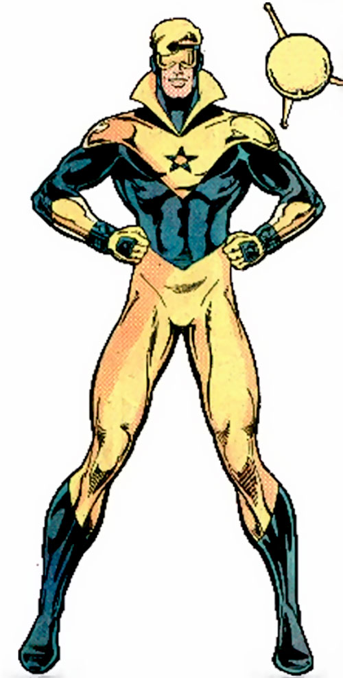 Booster Gold (DC Comics) posing with his robot