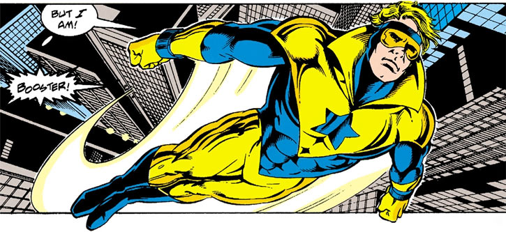 Booster Gold (DC Comics) (Justice League America) flies over the city