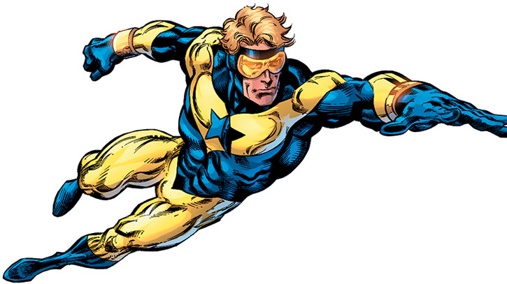 Booster Gold flying