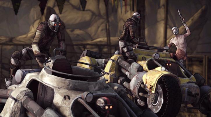 Borderlands - bandits driving two combat buggys