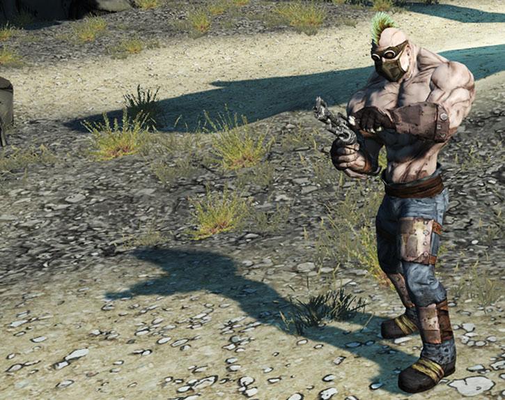 Borderlands - Bruiser bandit reloading his machinegun