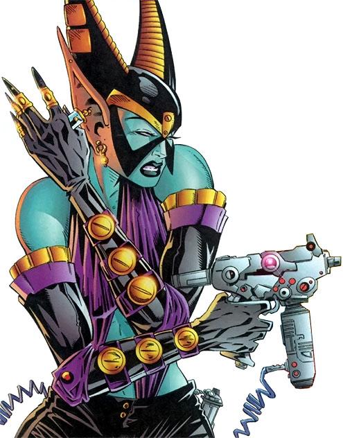 Borgia (Cybernary enemy) (Image Comics) pointing a gun