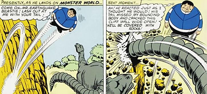 Bouncing Boy dodges an alien diplodocus
