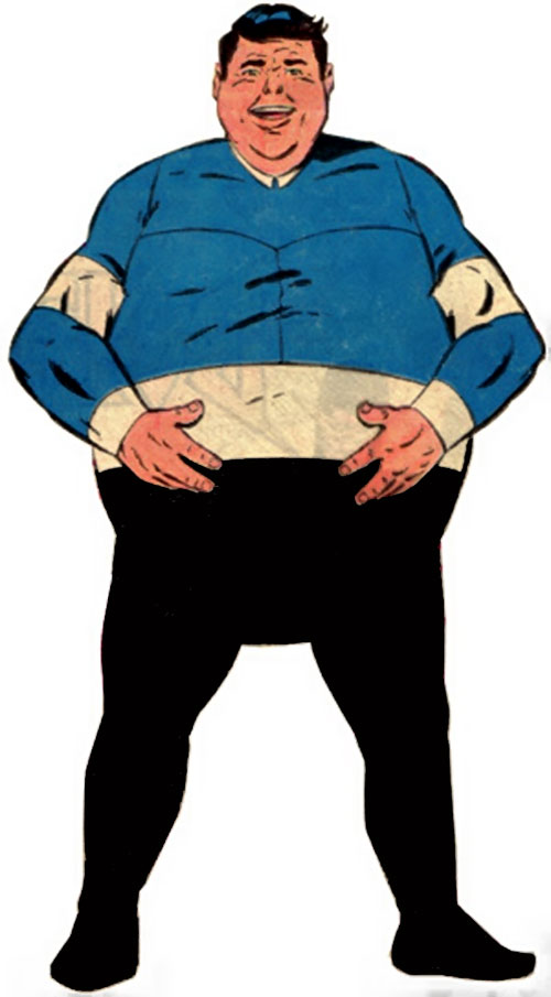 Bouncing Boy of the Legion of super-heroes (DC Comics) holding his belly