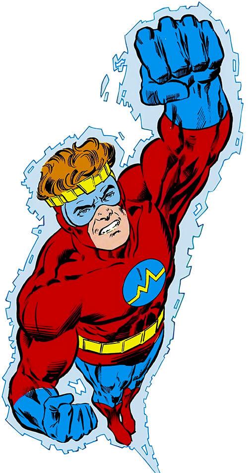 Brainwave (Hank King, Jr.) uses his telekinesis to fly