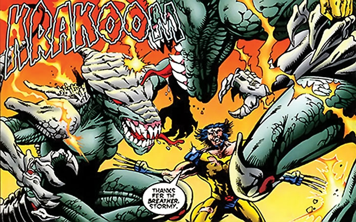 Brood firstborns battling Wolverine